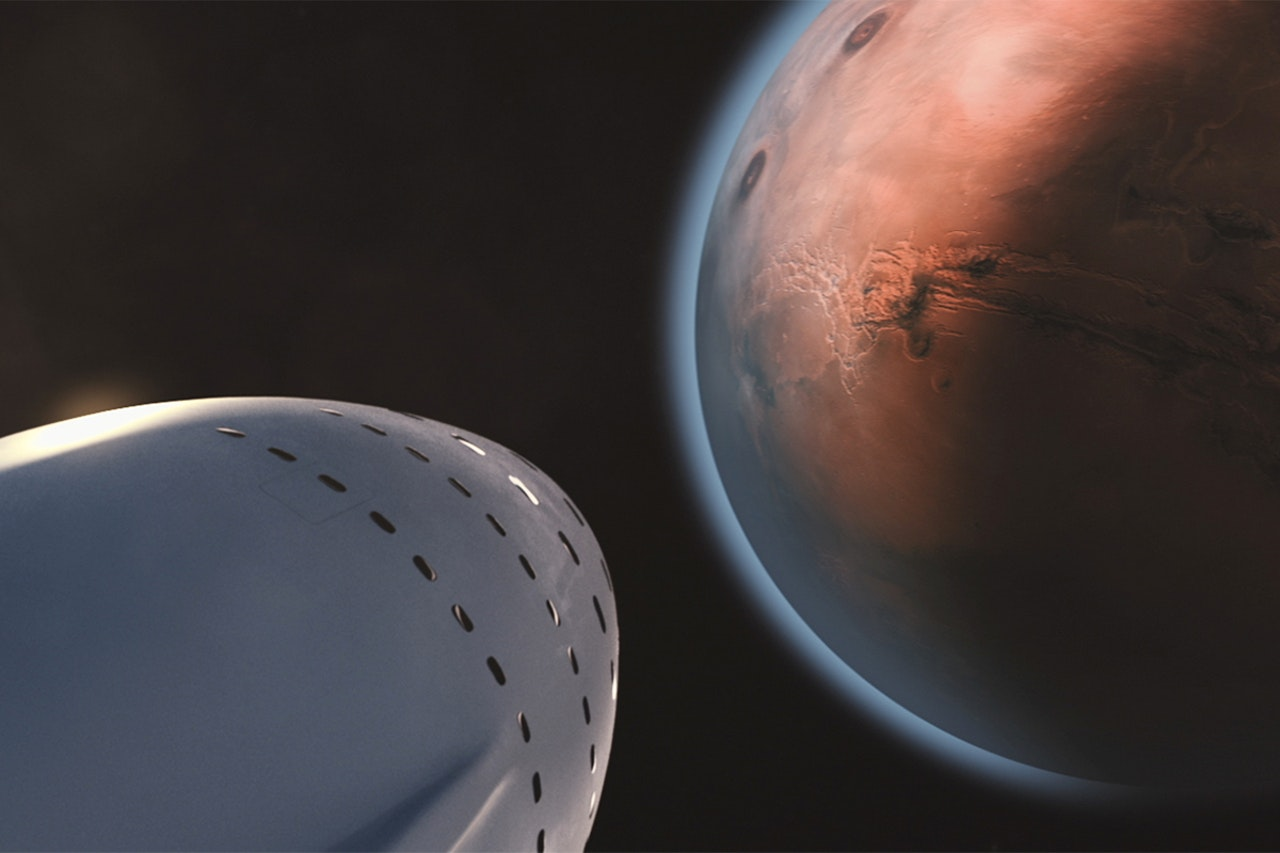 illustration of spacecraft with mars in the background